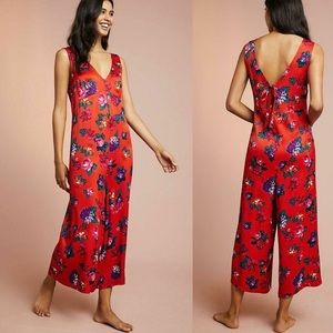 Anthro Floreat Red Floral Jumpsuit